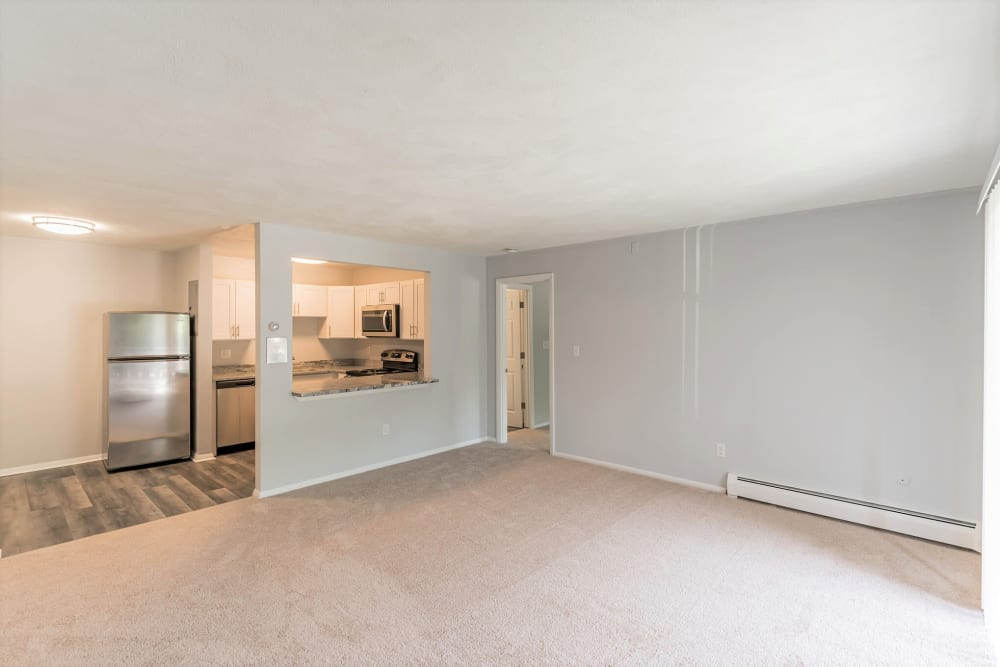 Livign room ready to move in at Park Village West in Westborough, Massachusetts