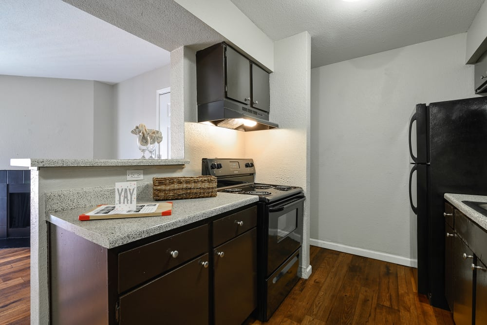 Model kitchen at Windmill Terrace in Bedford, Texas