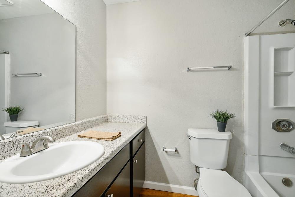 Model bathroom at Windmill Terrace in Bedford, Texas