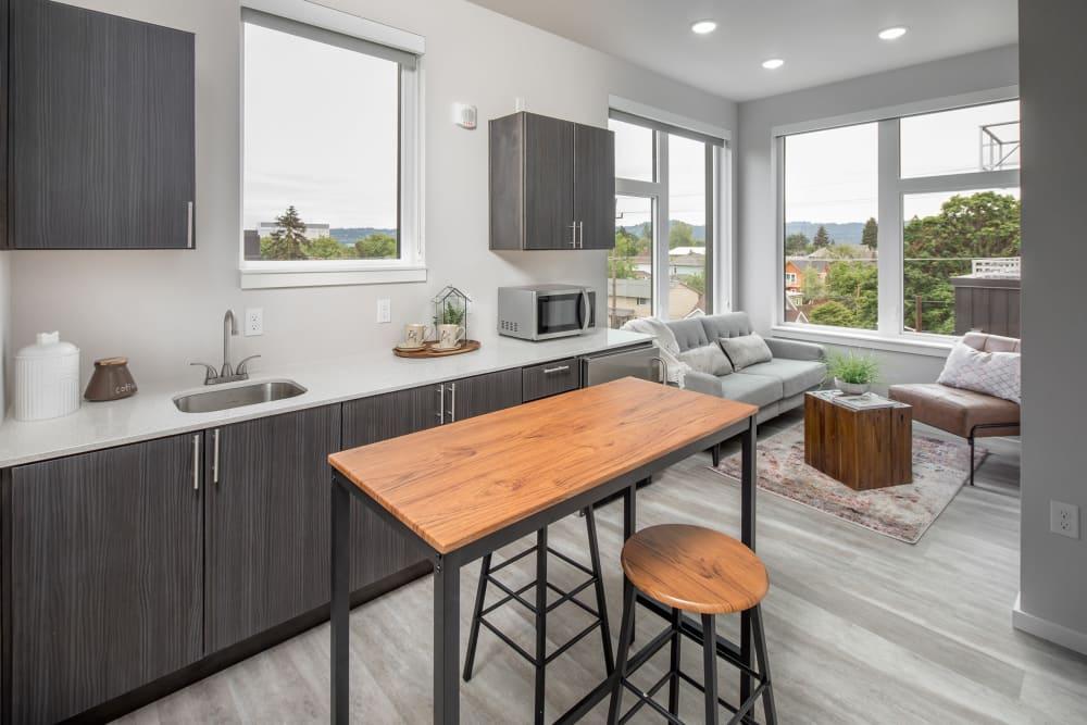 Modern kitchen in unit at Ascend in Portland, Oregon