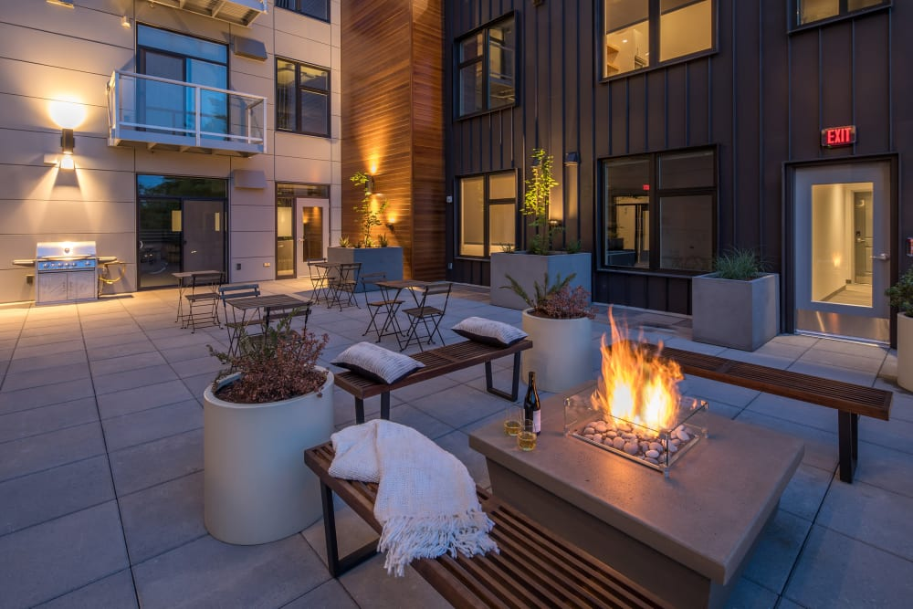 Fire pits outside at Ascend in Portland, Oregon