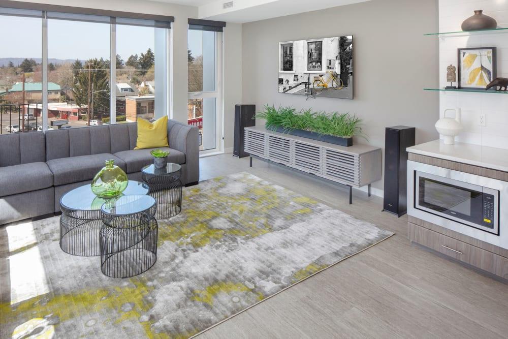 Modern unit interior design at Sandy Fifty One in Portland, Oregon