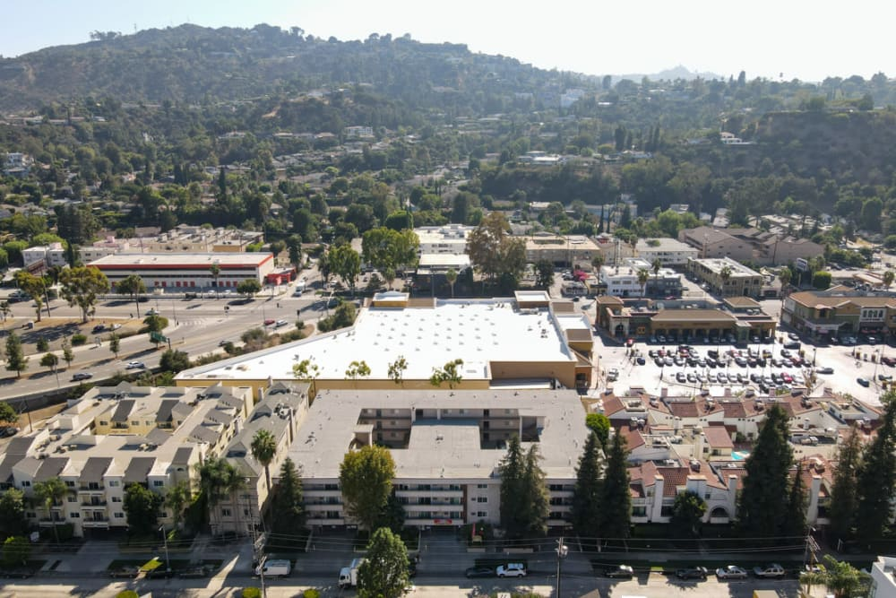 Aerial shot of The Enclave in Studio City, California