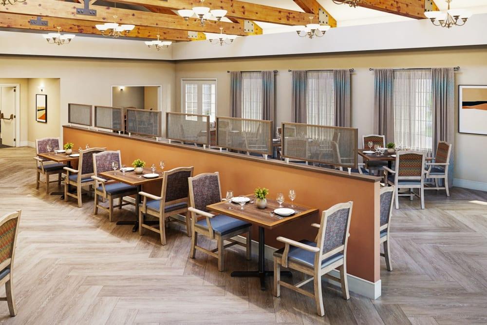 Renovated dining room at Del Obispo Terrace Senior Living in San Juan Capistrano, CA