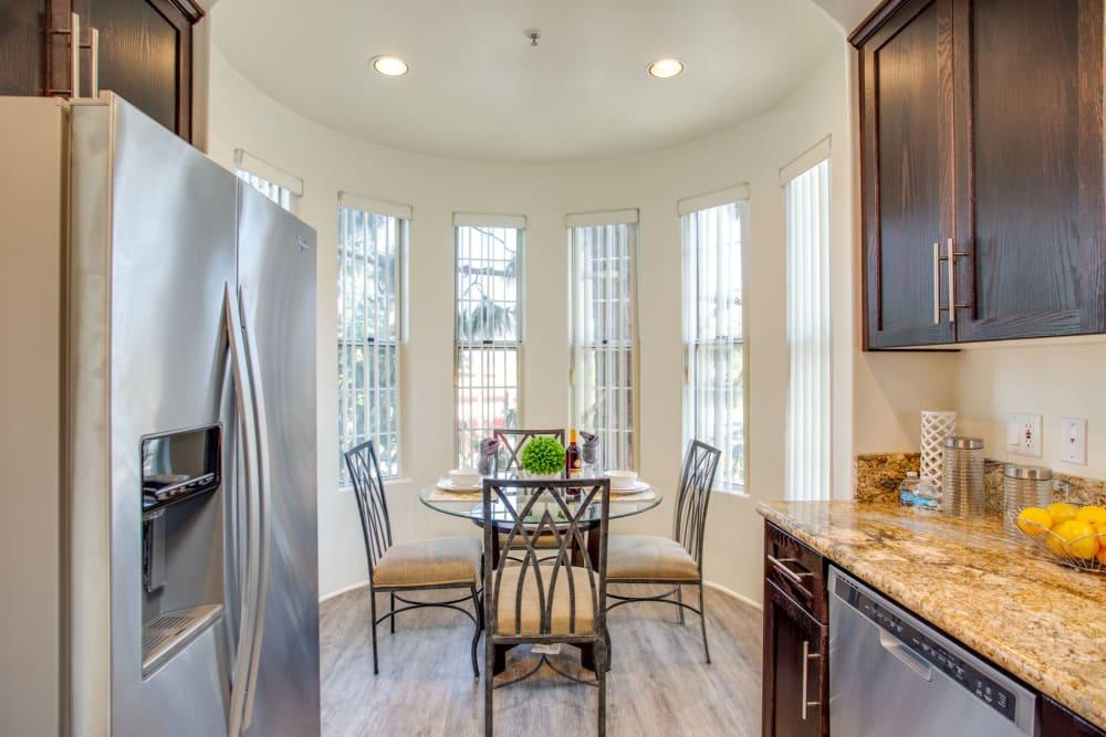 Half-rotunda kitchen nook in a model home at L'Estancia in Studio City, California
