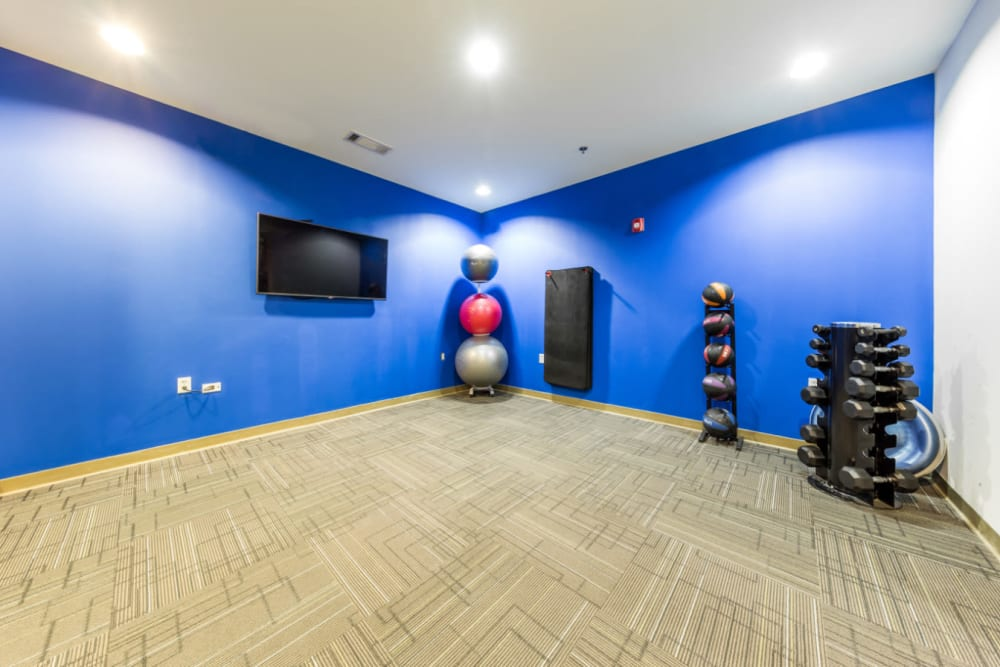 Free weights rack, medicine ball stand, exercise mats, and wall mounted monitor at Marq Eight in Atlanta, Georgia