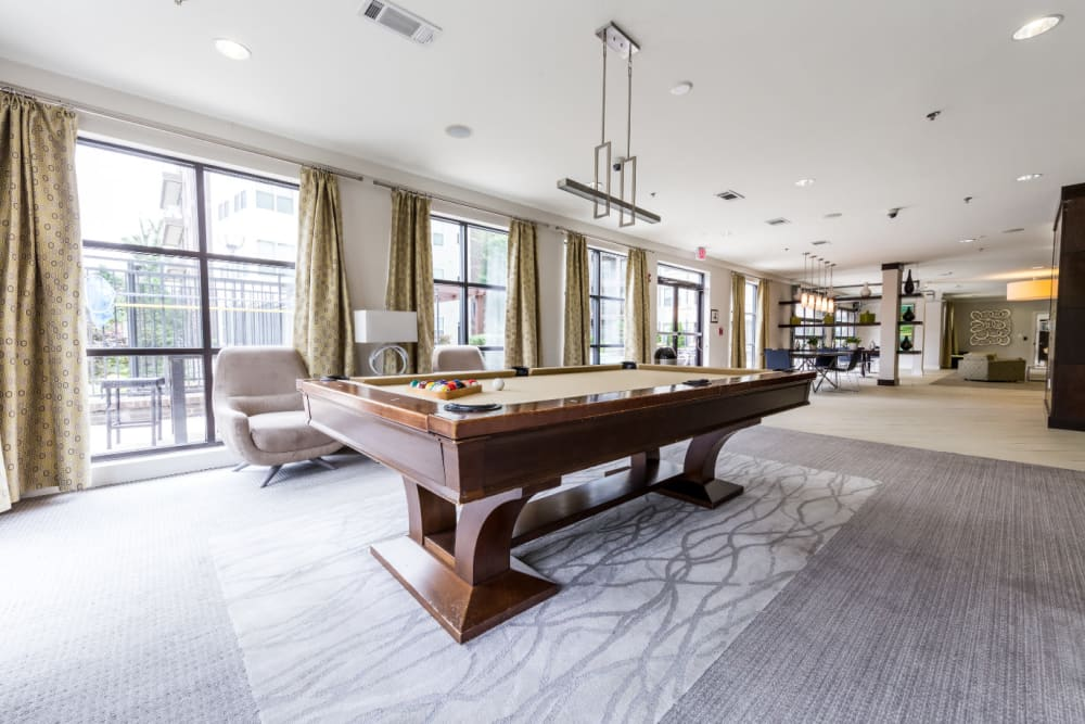 Pool table in large area of community clubhouse at Marq Eight in Atlanta, Georgia