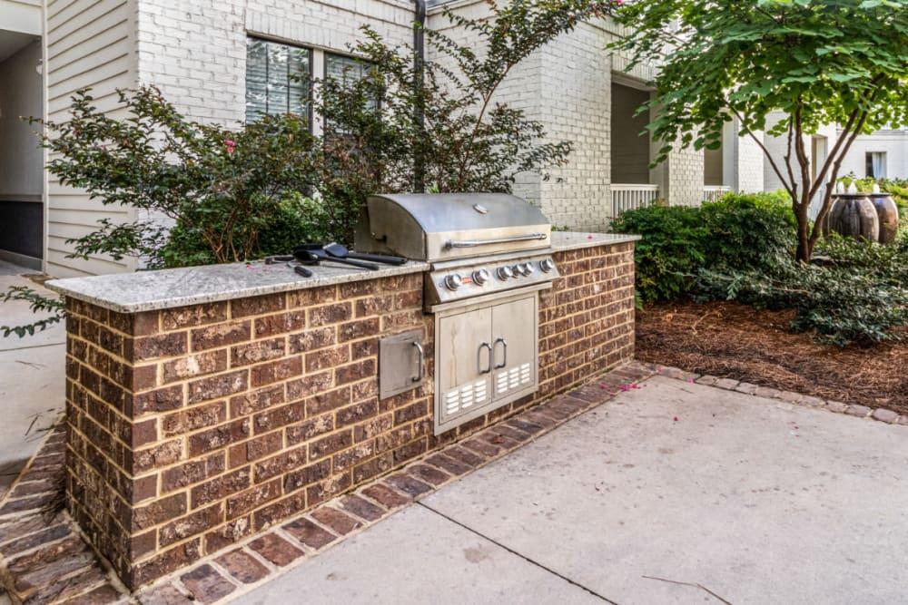 Stainless steel BBQ in brick with granite countertop at Marquis at Buckhead in Atlanta, Georgia
