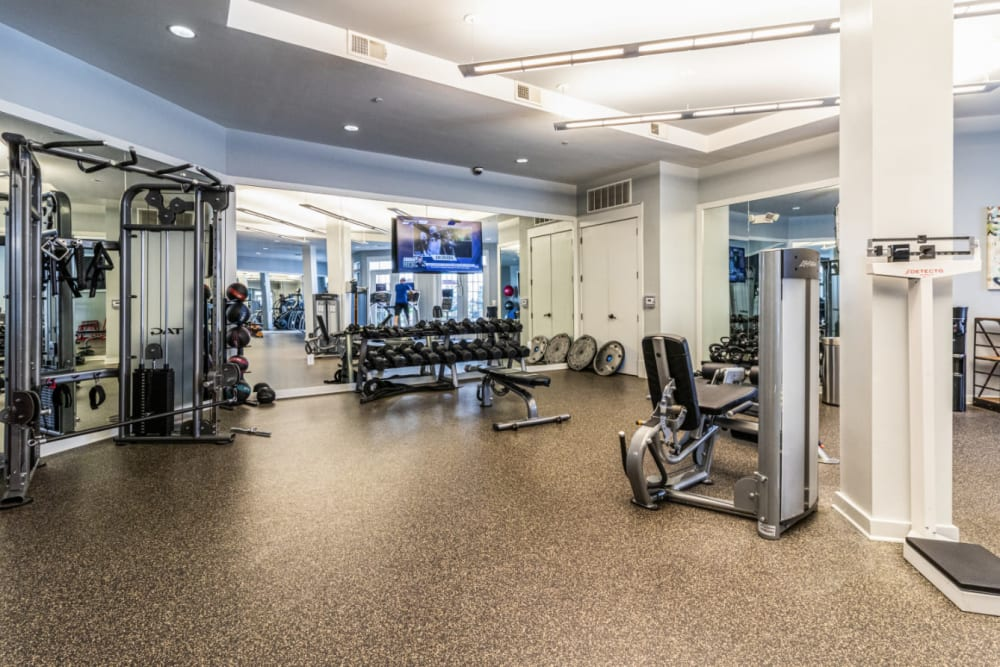 Free weight section with television monitor in fitness room of Marquis at Buckhead in Atlanta, Georgia