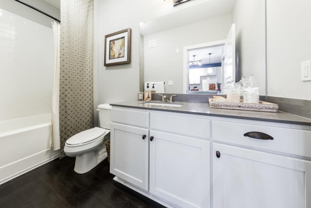 Bright bathroom with bathtub and wood flooring at Marquis at Buckhead in Atlanta, Georgia