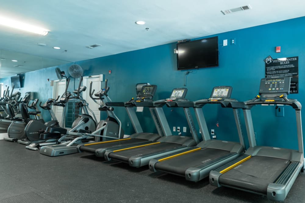 Cardio machines lined up against the wall at Marquis at Texas Street in Dallas, Texas