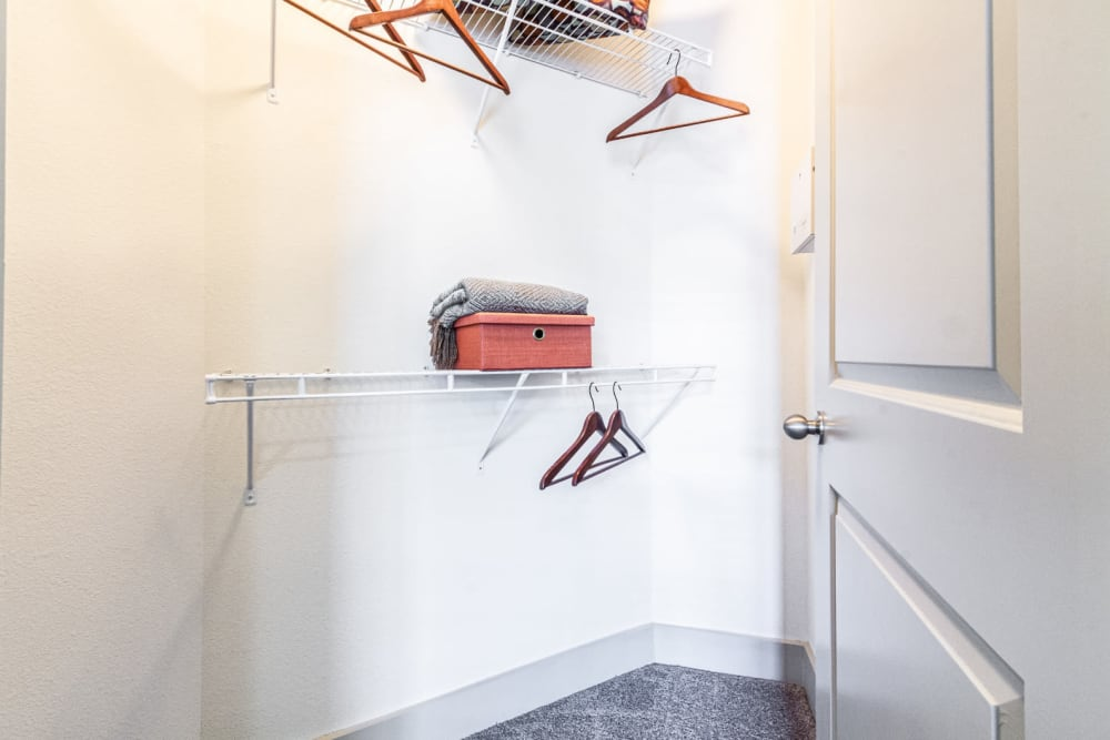 Walk in closet with built in wired shelves at The Marq on Voss in Houston, Texas