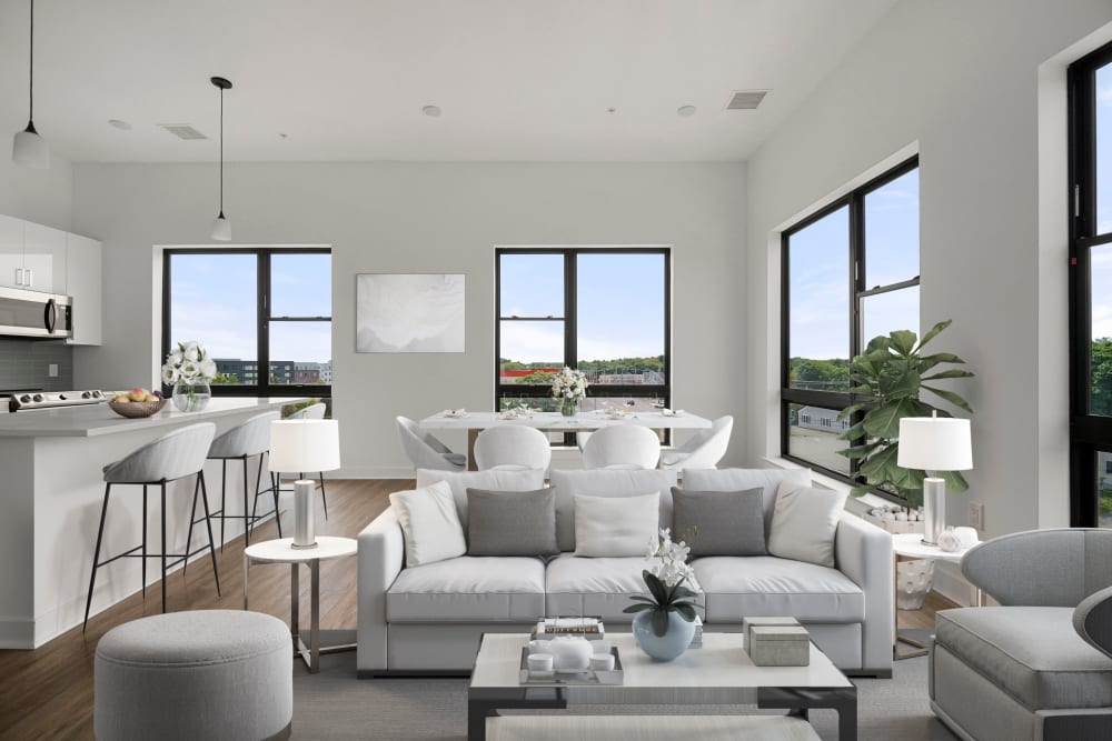 Spacious living room at The Aeronaut in Weymouth, Massachusetts
