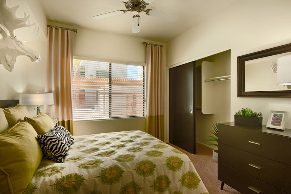 Large master bedroom with ceiling fan and beautiful furnishings in model home at Cactus Forty-2 in Phoenix, Arizona