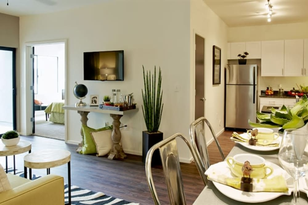 Beautiful living room and kitchen at Cactus Forty-2 in Phoenix, Arizona