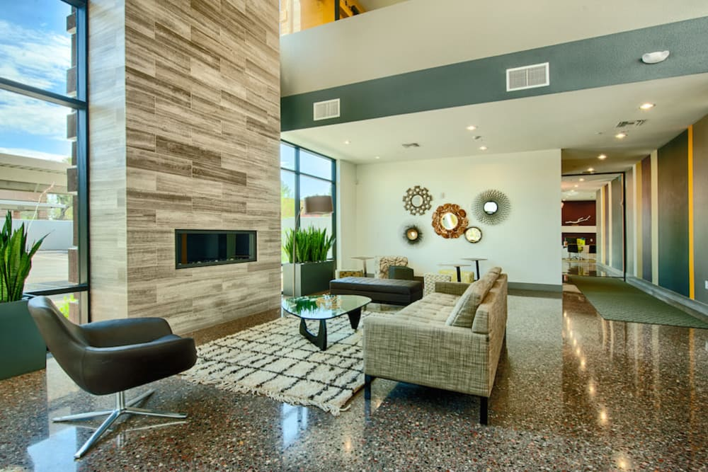 Contemporary decor in resident clubhouse at Cactus Forty-2 in Phoenix, Arizona