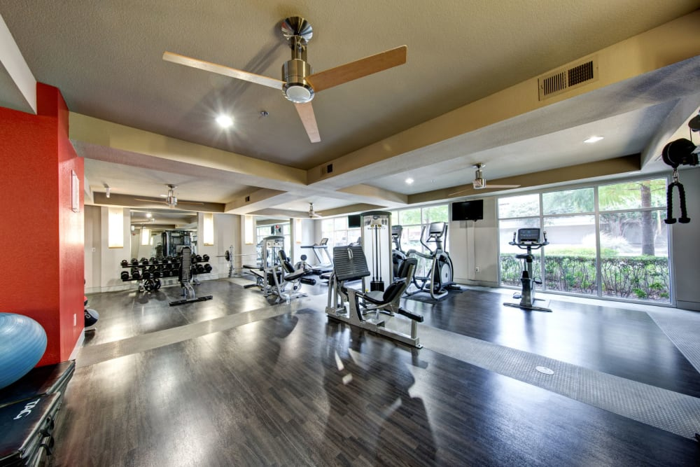 Fitness center for residents at The Marq on West 7th in Fort Worth, Texas