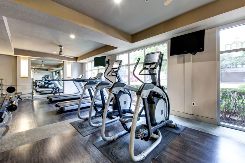 Fully equipped fitness center at The Marq on West 7th in Fort Worth, Texas