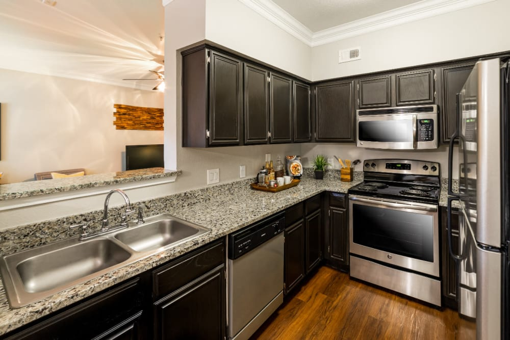 Modern kitchen with stainless steel appliances and granite countertops at Marquis at Great Hills in Austin, Texas
