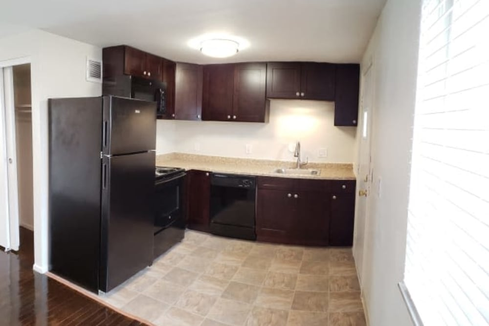 Kitchen of unit at Shaker Square Townhome Apartments