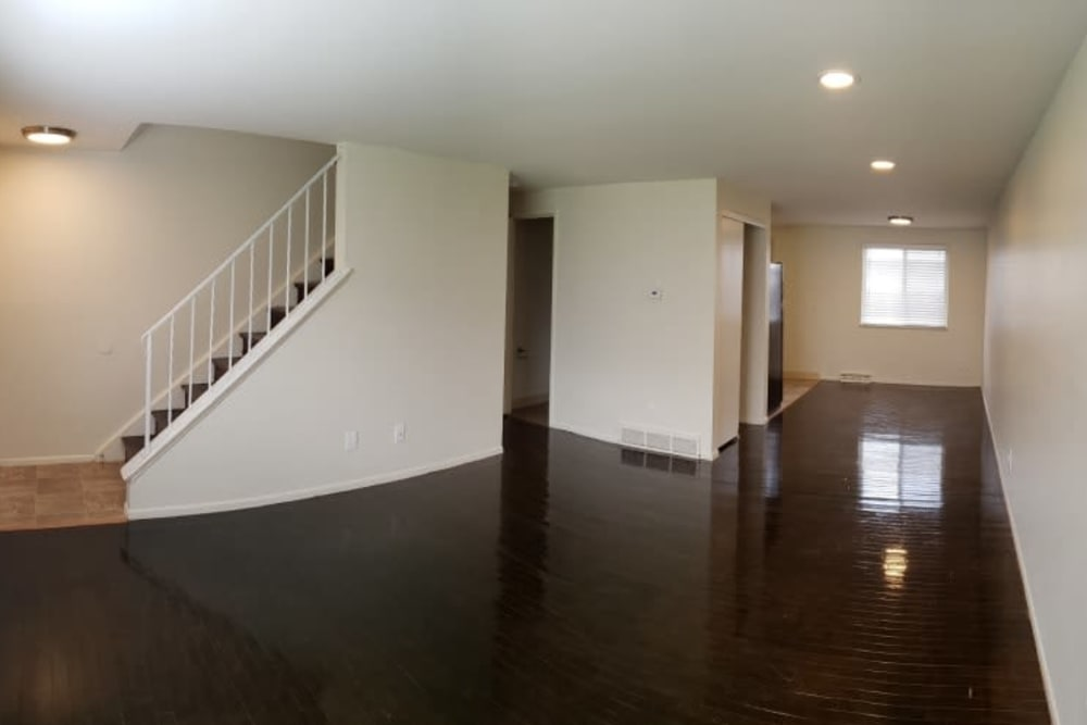 Living room of unit at Shaker Square Townhome Apartments