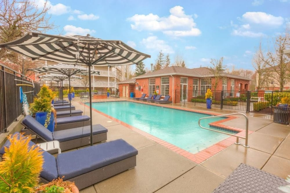 Pool surrounded by umbrella covered lounge chairs at Carvel Harbour Pointe in Mukilteo, Washington