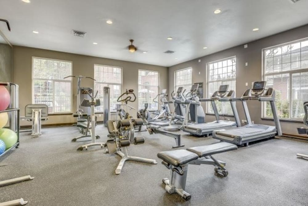 Full equipped fitness room for residents at Carvel Harbour Pointe in Mukilteo, Washington