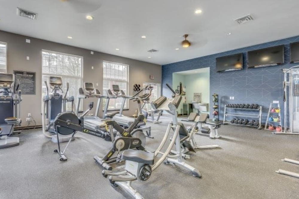Fully equipped fitness room at Carvel Harbour Pointe in Mukilteo, WA