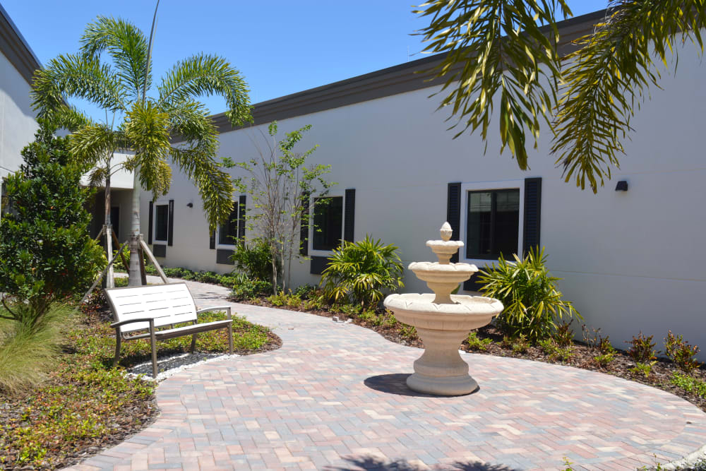 Beautiful courtyards at Inspired Living Delray Beach in Delray Beach, Florida