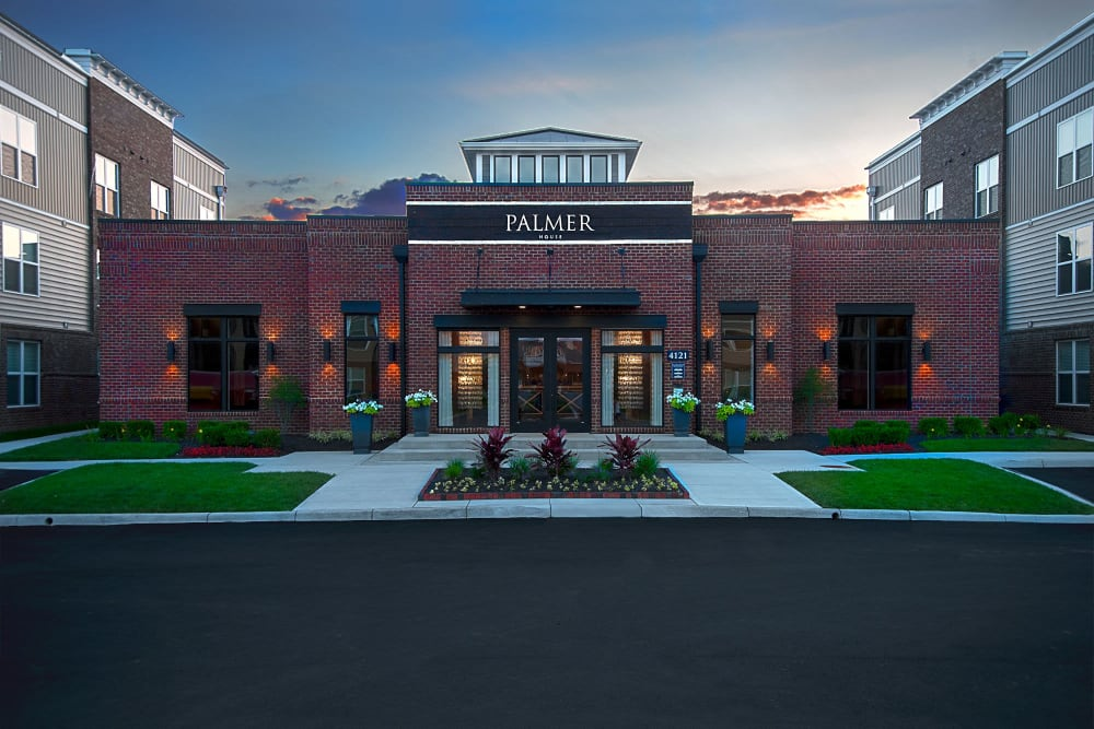 Beautiful entrance at Palmer House Apartment Homes in New Albany, Ohio