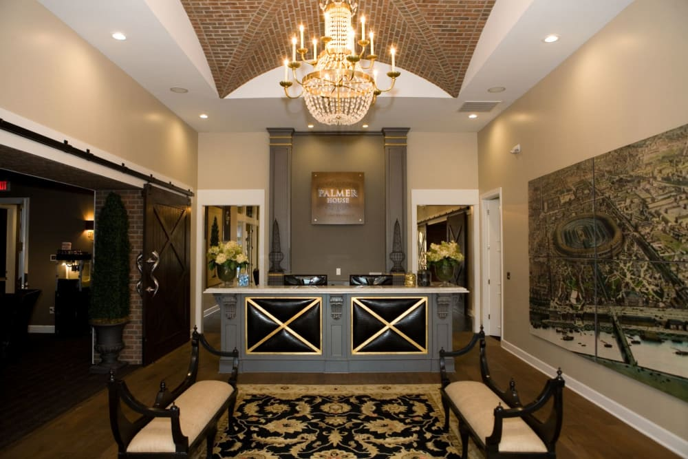 Beautiful welcome area at Palmer House Apartment Homes in New Albany, Ohio
