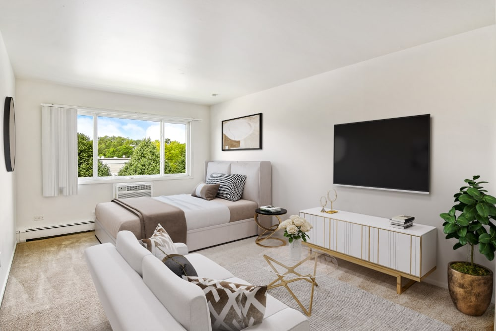 A bright studio apartment living room  at Riverstone Apartments in Bolingbrook, Illinois
