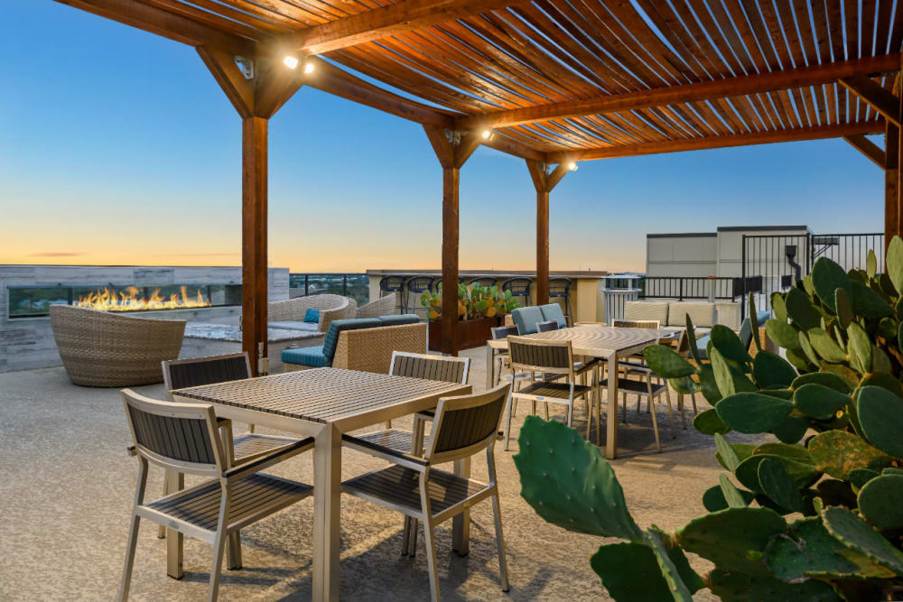 Roof deck with cactus plants, plenty of sitting areas, and with view of the city at The 704 in Austin, Texas