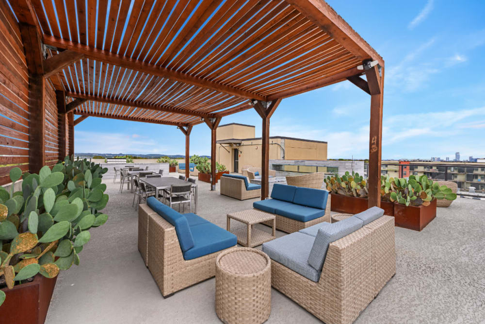 Building roof deck with covered sitting areas and cactus plants at The 704 in Austin, Texas