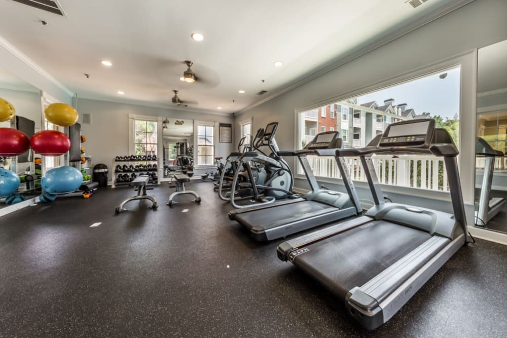 Treadmills set in front of window at The Marq at Brookhaven in Atlanta, Georgia