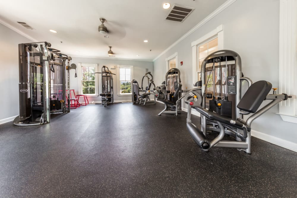 Fully equipped fitness room at The Marq at Brookhaven in Atlanta, Georgia