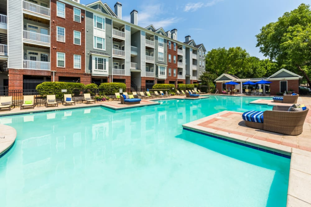 Resort style swimming pool with lounge chairs on both sides at The Marq at Brookhaven in Atlanta, Georgia