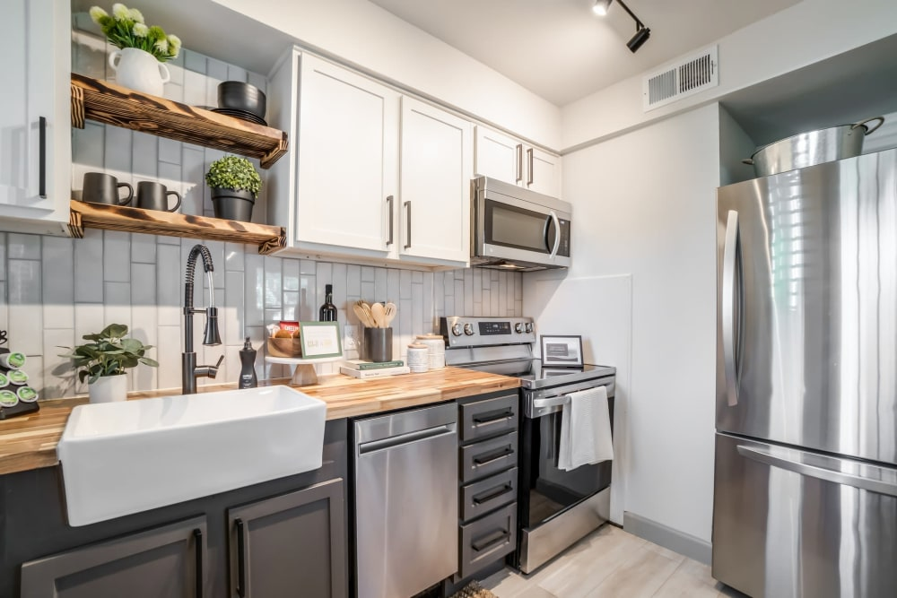 Kitchen with plenty of cabinet space at Kiwi Goji Apartments in Memphis, Tennessee