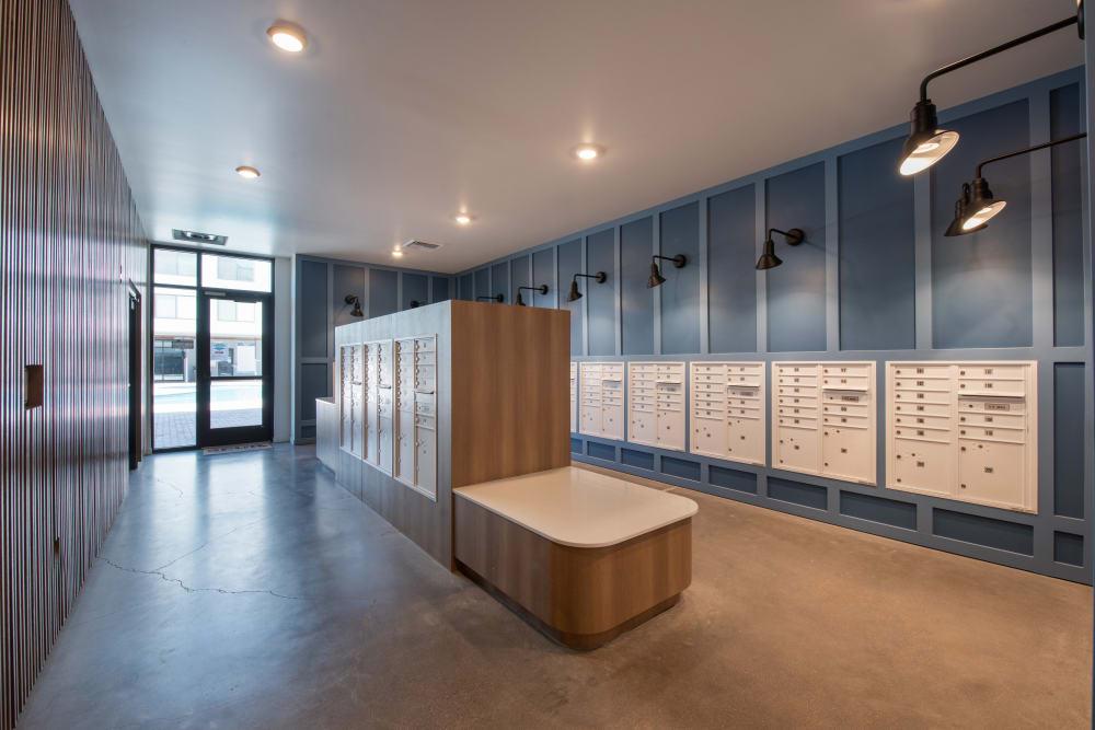 Mail room at Marq Iliff Station in Aurora, Colorado