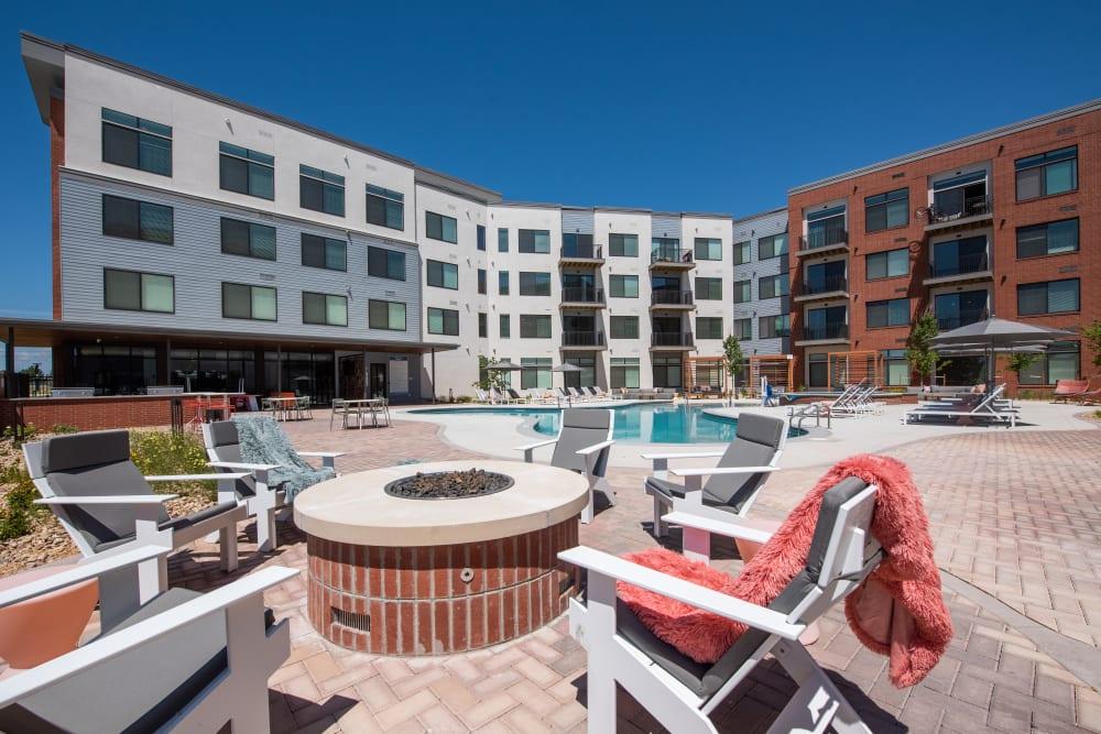 Poolside lounge at Marq Iliff Station in Aurora, Colorado