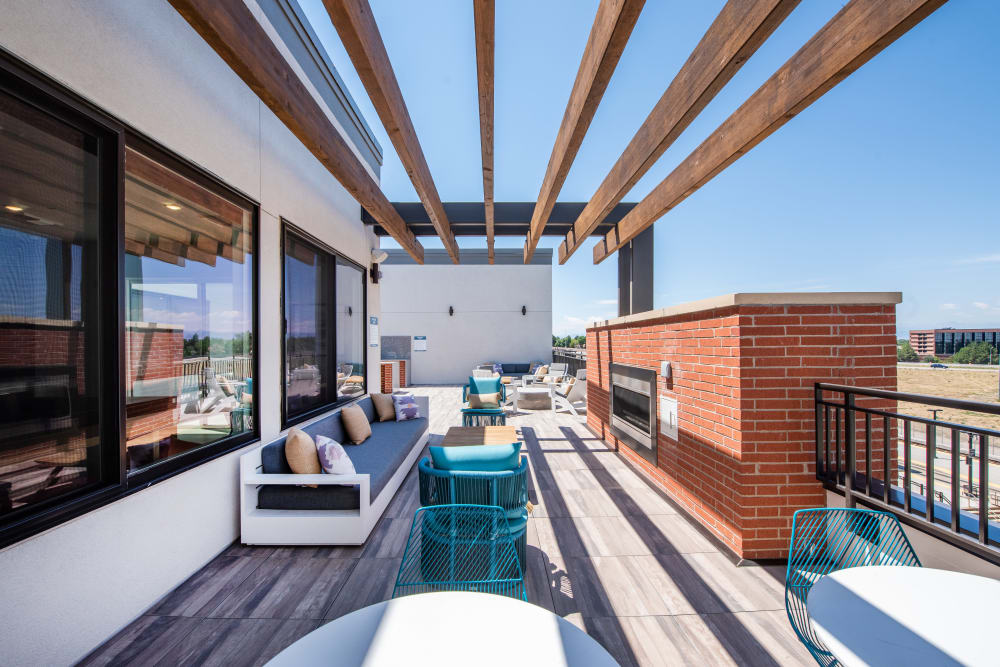 Outdoor rooftop lounge at Marq Iliff Station in Aurora, Colorado