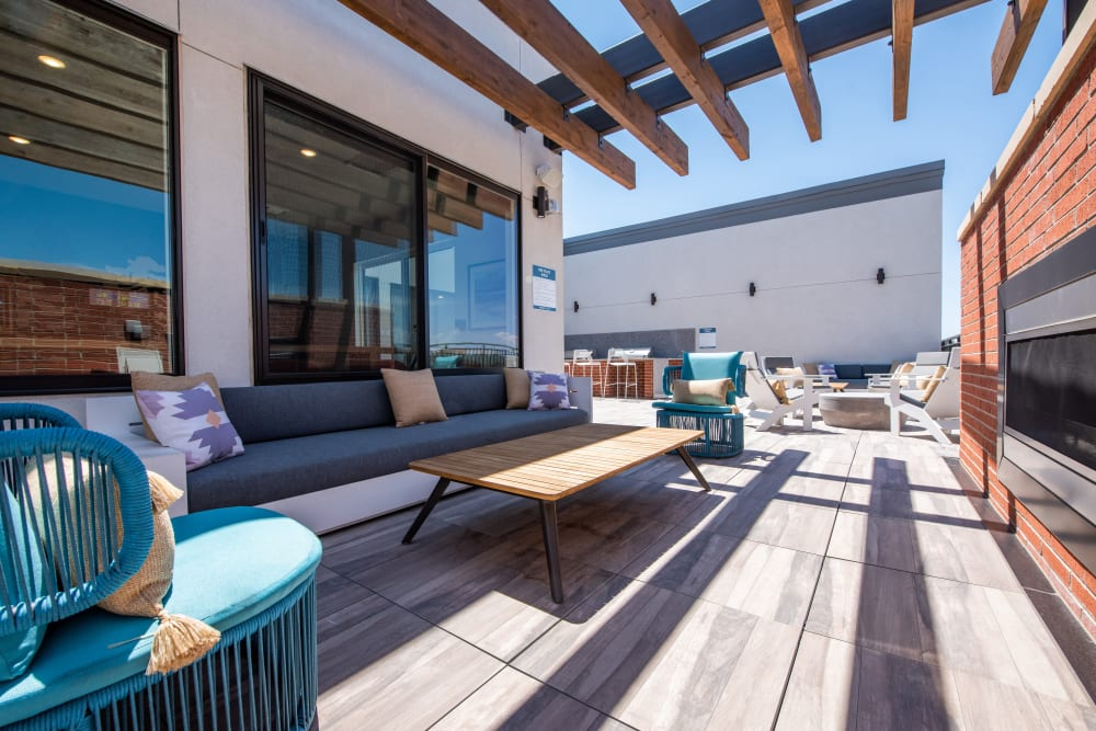 Community rooftop lounge at Marq Iliff Station in Aurora, Colorado