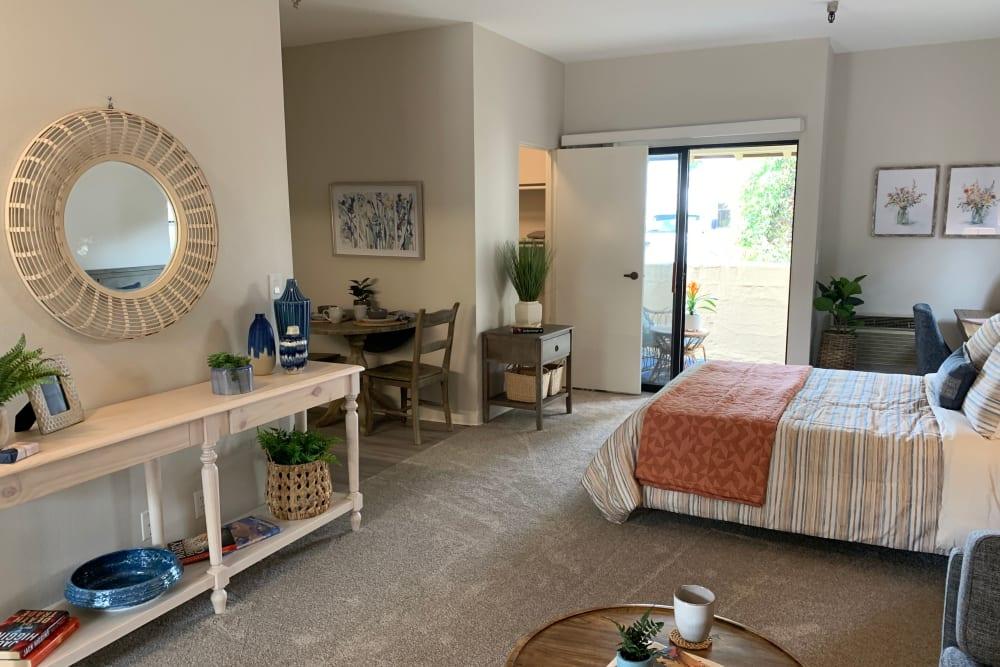 Renovated bedroom at Del Obispo Terrace Senior Living in San Juan Capistrano, CA