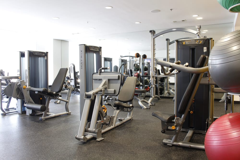 Large fitness area for residents to workout in at Macallan at Ross in Dallas, Texas