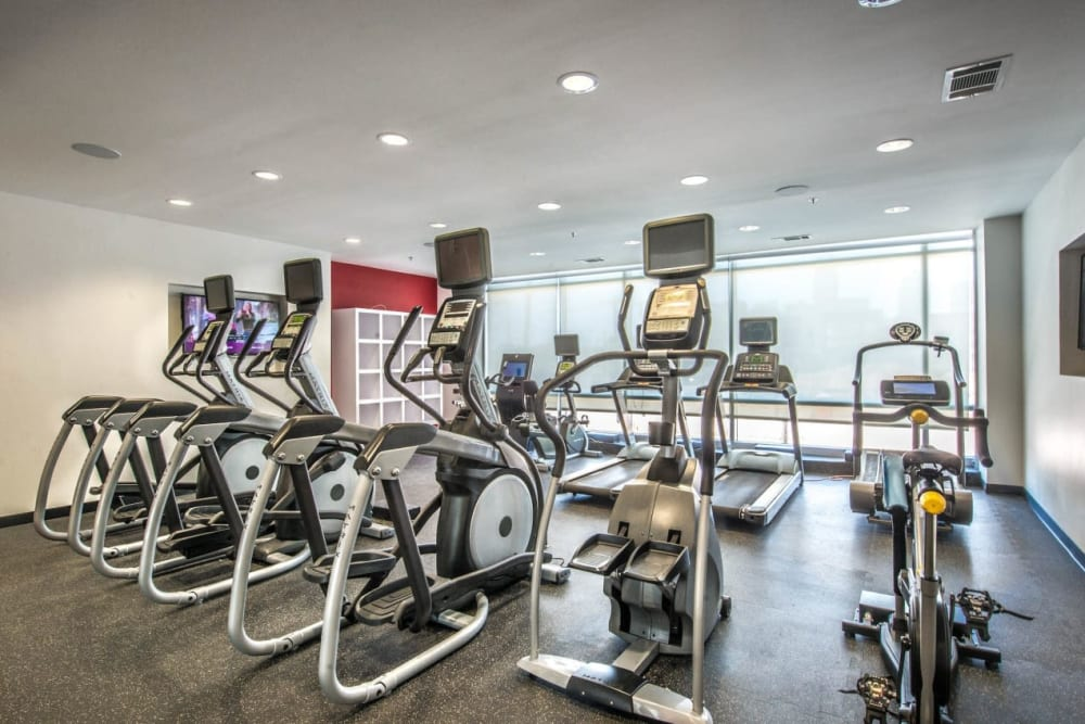 Cardio area at the fitness center at Macallan at Ross in Dallas, Texas
