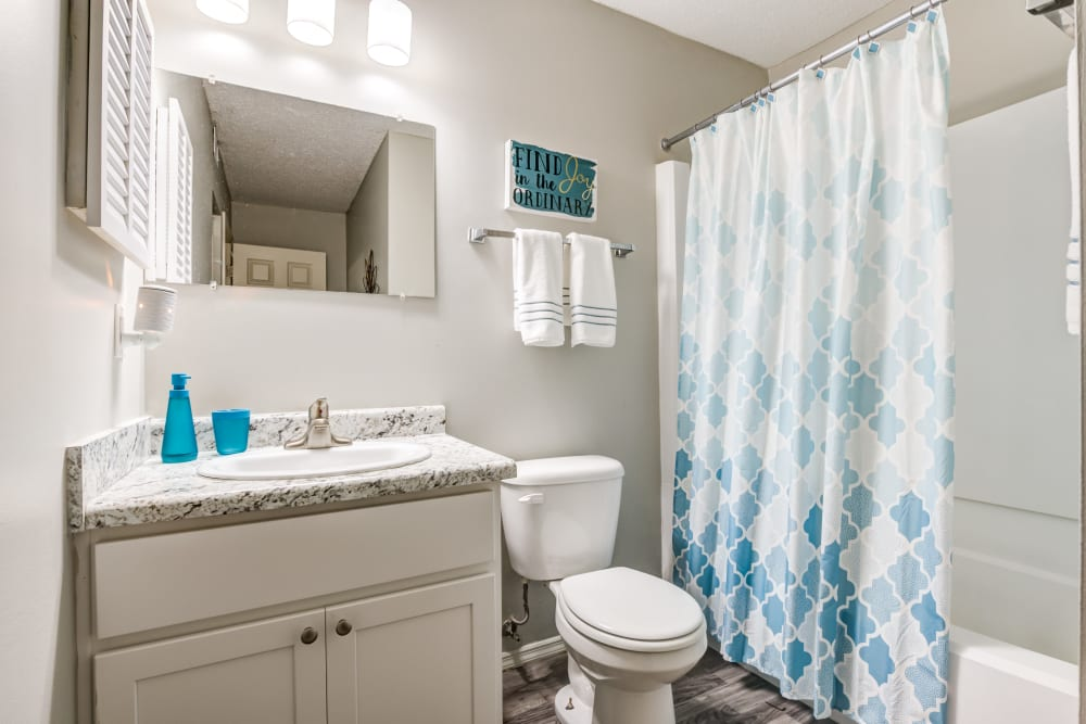 Premium Bathroom Package with Brand New Cabinets at Village Green Apartments in Evansville, IN