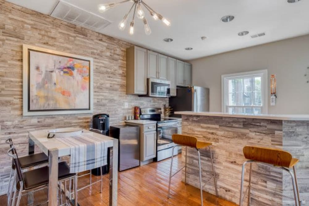 Clubhouse Kitchen & Coffee Area at Abbotts Run Apartments in Alexandria, Virginia