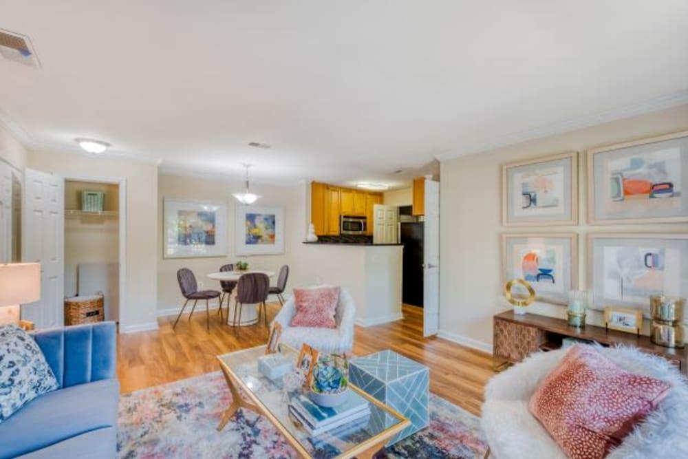 Model living room at Abbotts Run Apartments in Alexandria, Virginia