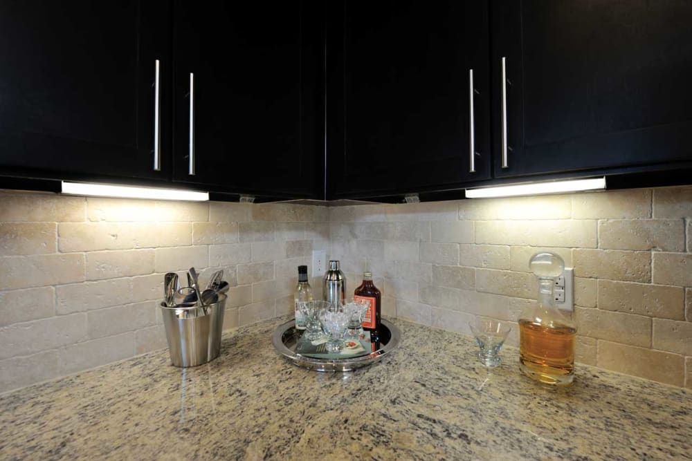 Granite counters with dark wood cabinets at Olympus Falcon Landing in Katy, Texas