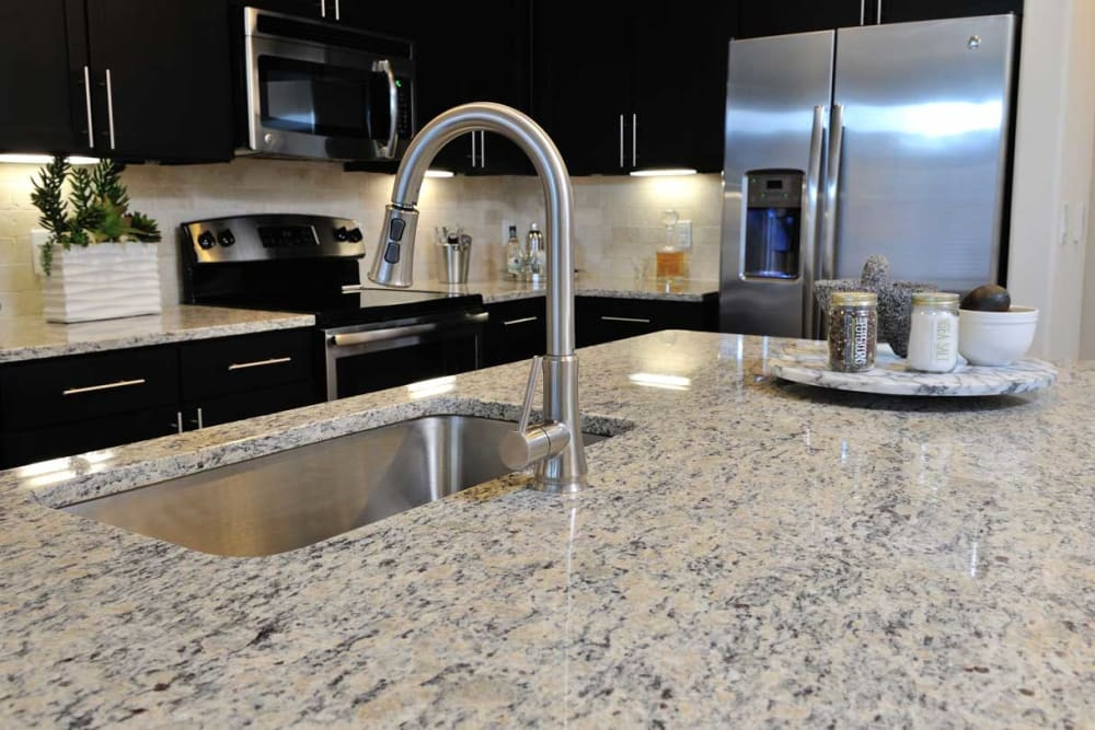 Granite countertop with stainless steel sink at Olympus Falcon Landing in Katy, Texas